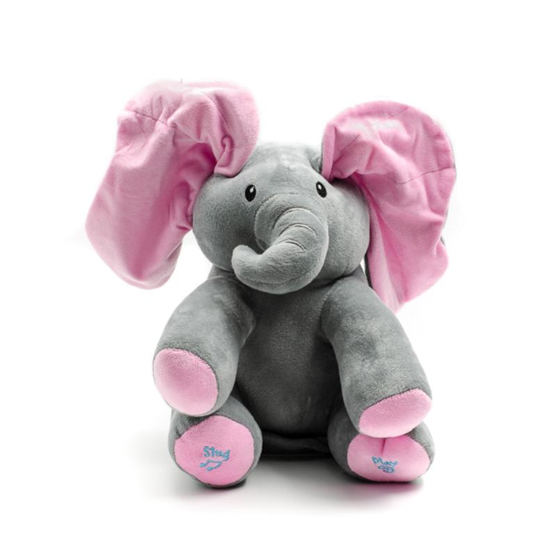 Szürke angolul éneklő plüss elefánt, nagy mozgó rózsaszín fülekkel
