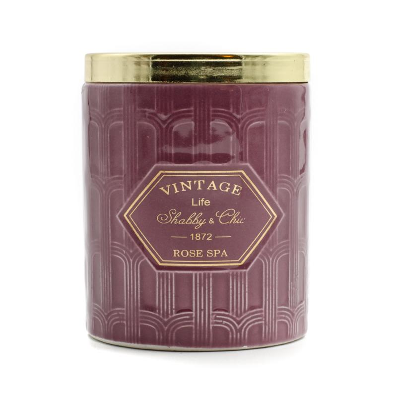 Elegáns gyertya lila kerámia tartóban, arany fedővel, rózsás illatban