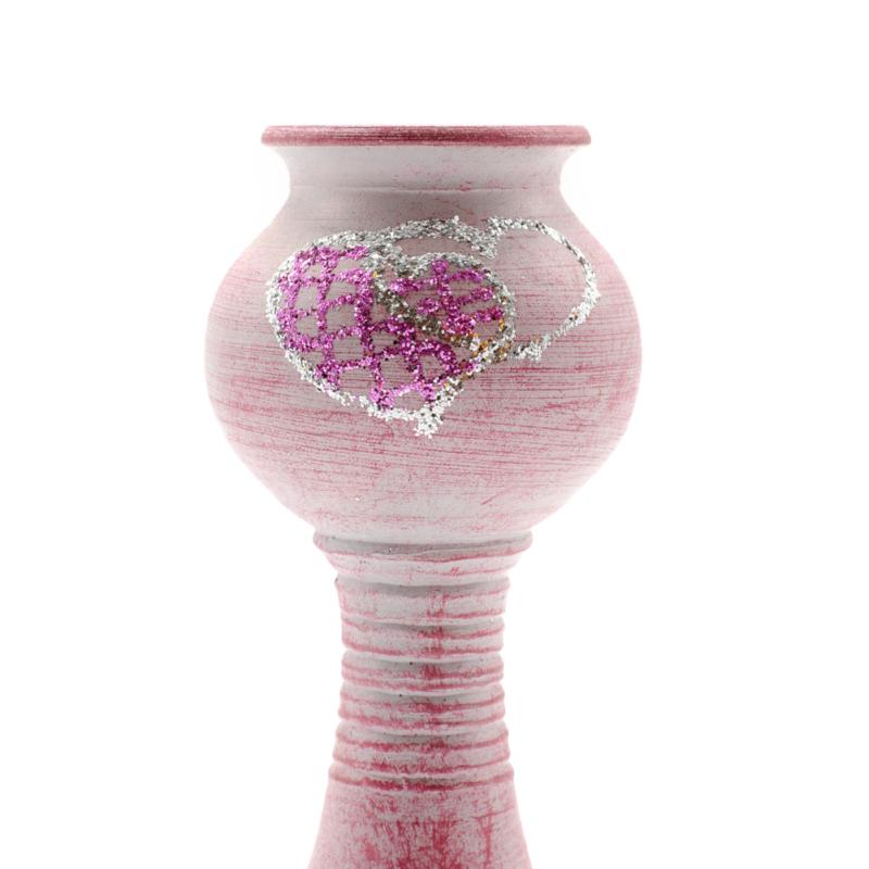 Antikolt rózsaszín kerámia gyertyatartó