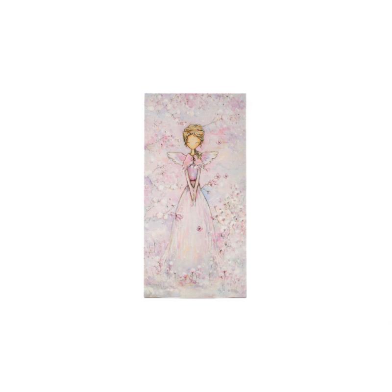 Kicsi selyemkép rózsaszín tónusban, cseresznyevirágokkal és tündérrel