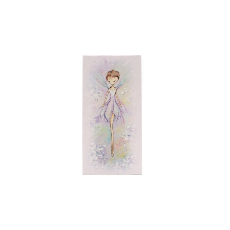 Kicsi selyemkép kék virágmezőn táncoló tündérrel