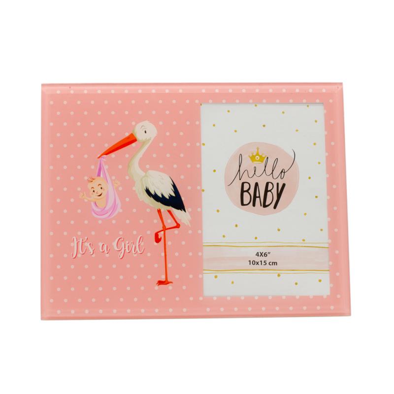 Kedves gólyás képkeret lányoknak, rózsaszín háttérrel, közepes méretű képnek