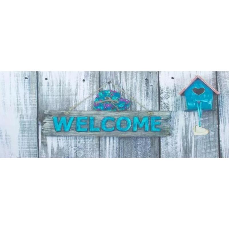 Gumi türkiz lábtörlő szívvel, Welcome felirattal