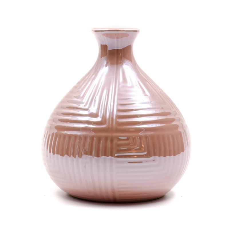 Kisméretű rózsaszín gyöngyházfényű gömbölyű váza szűk szájjal