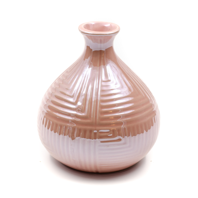 Rózsaszín gyöngyházfényű váza