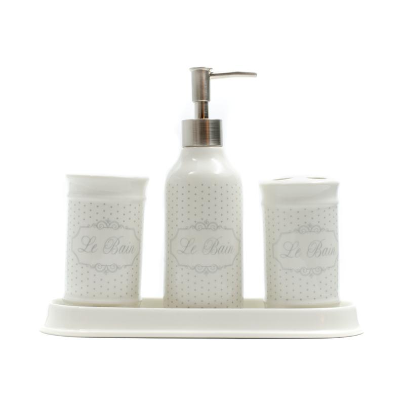 Krémszínű kerámia fürdőszoba szett, szürke pöttyökkel, Le Bain felirattal