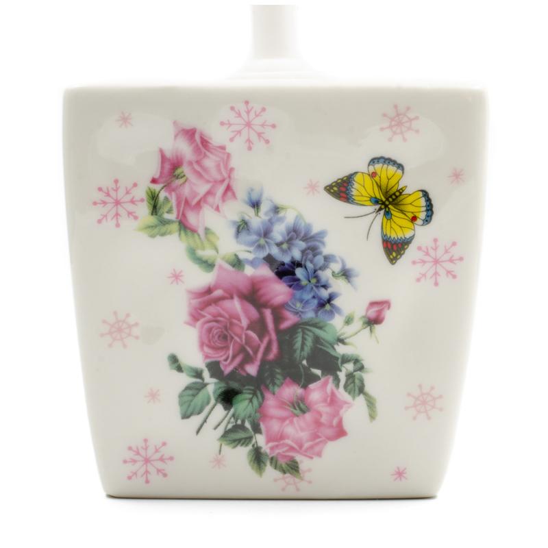 Virágos-pillangós WC-kefe tartó