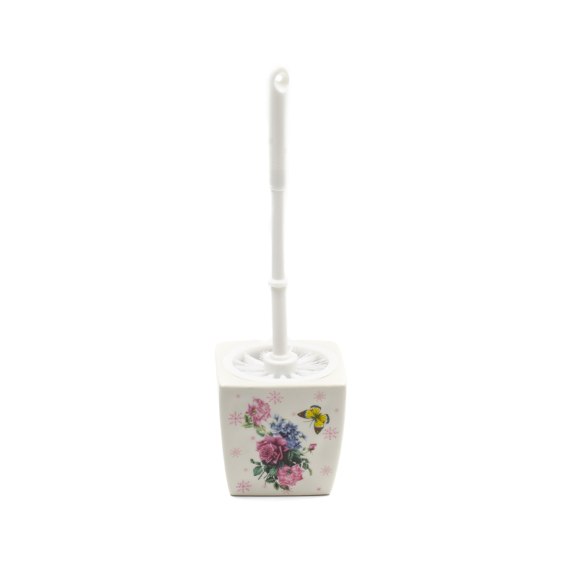 Kerámia WC-kefe tartó, rózsákkal és pillangóval díszítve