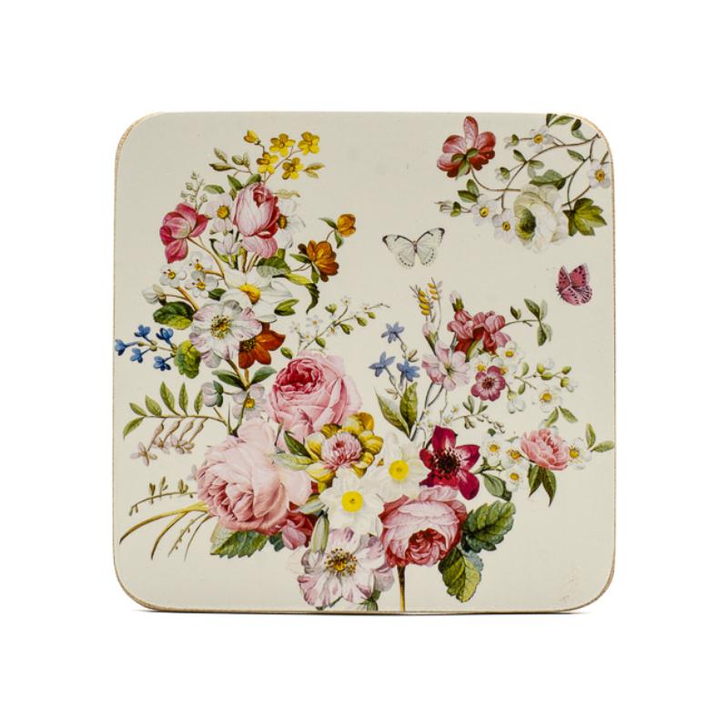 6 db-os romantikus rózsakompozíciós parafa poháralátét szett díszdobozban