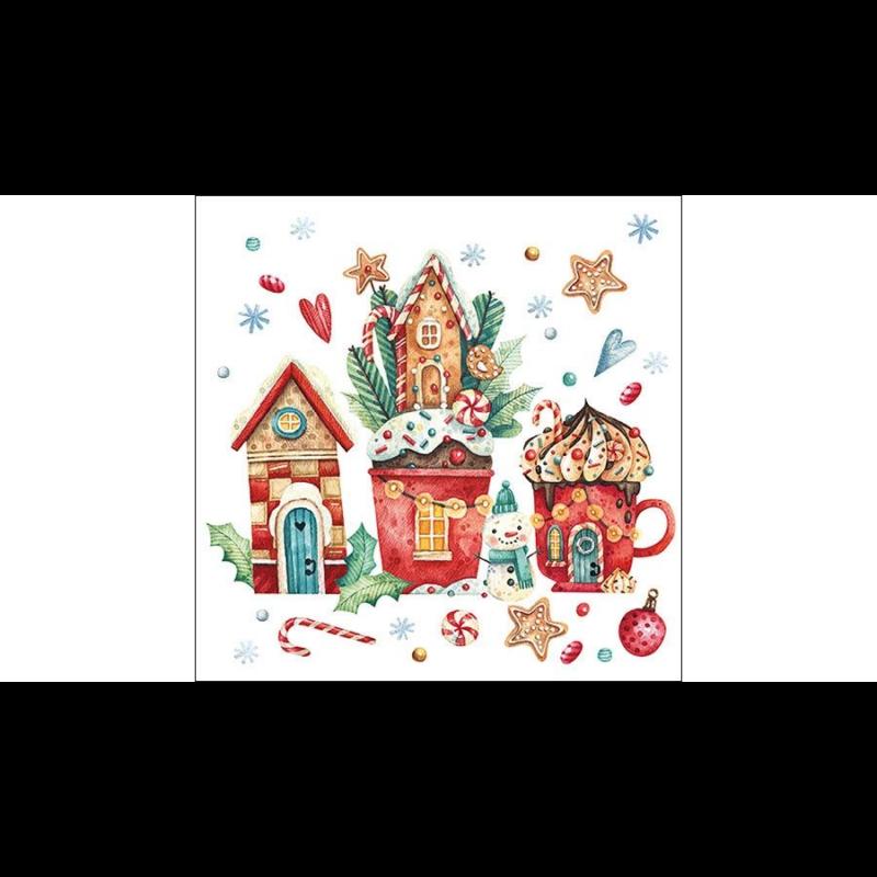 Karácsonyi szalvéta hóemberrel, mézeskaláccsal, házikókkal