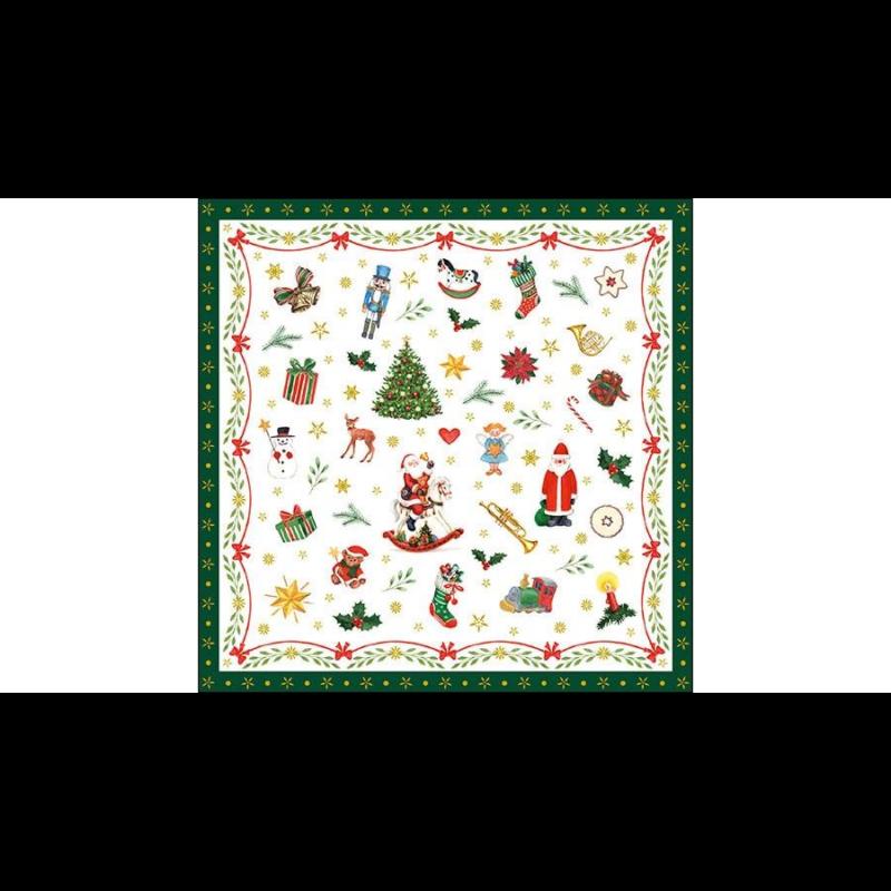 Karácsonyi szalvéta, hóemberrel, hintalóval, őzikével, macival