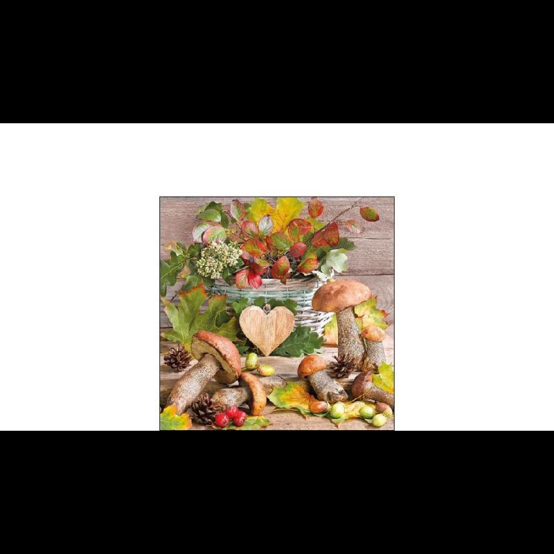Fa szív őszi gombákkal papírszalvéta