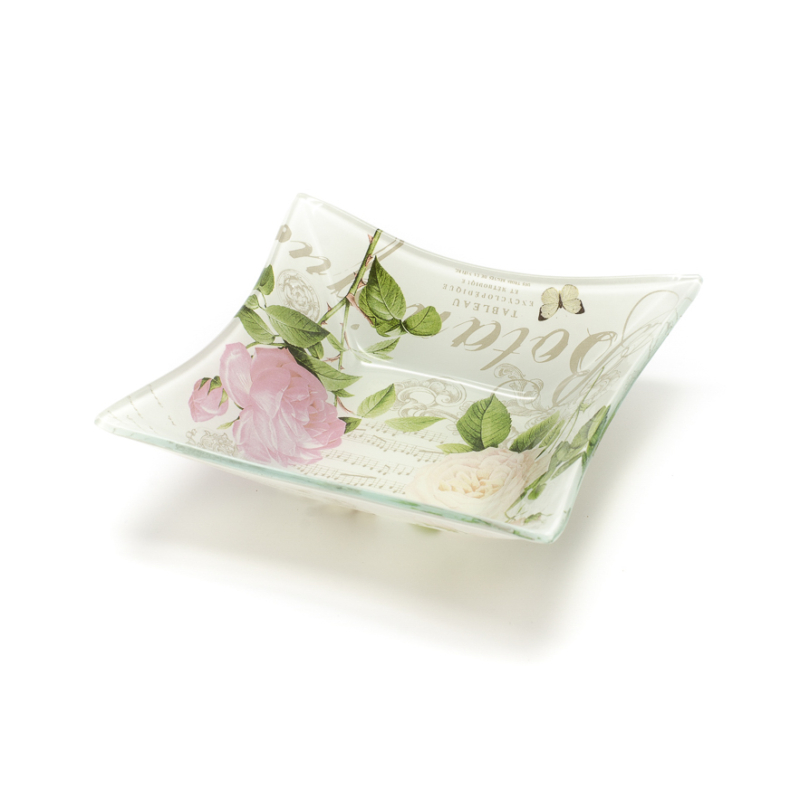 Kicsi üveg kínáló tálka rózsás-pillangós díszítés francia vintage stílusban