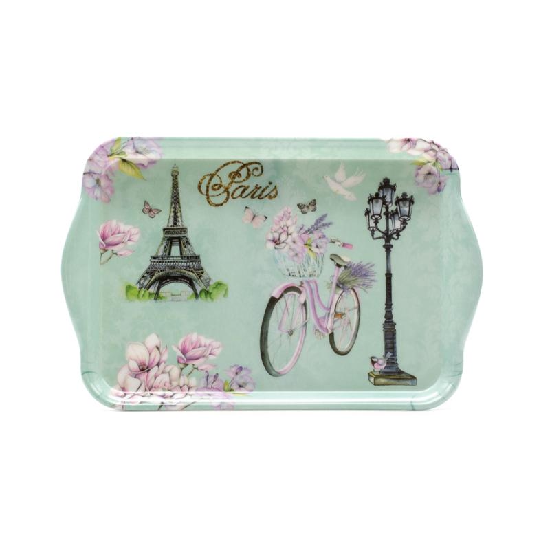 Kicsi műanyag türkiz kínáló tálca Paris felirattal, magnóliákkal, Eiffel-toronnyal