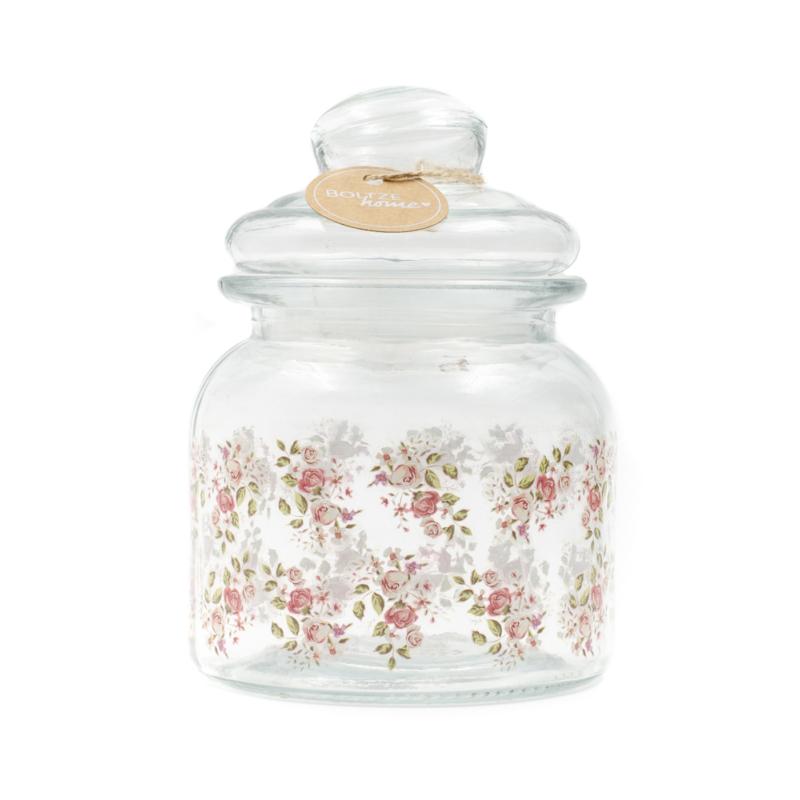 Légmentesen zárható üveg konyhai tároló rózsákkal