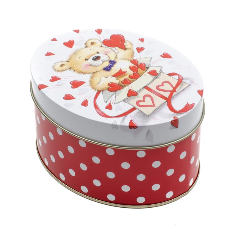 Kicsi fém piros-fehér pöttyös ovális tároló, macival és szívekkel a tetején