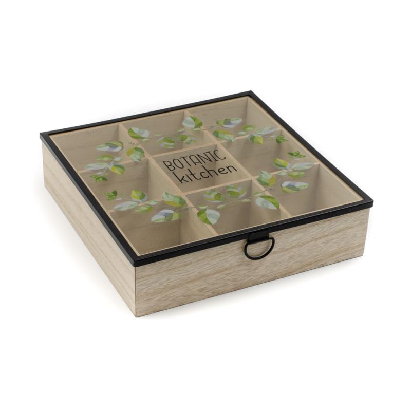 Botanic feliratú fa teafilter tartó fekete keretes üveg tetővel