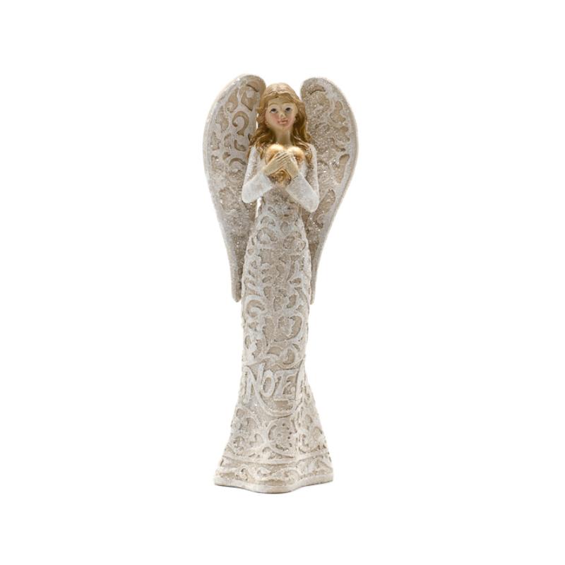 Kő hatású csillogó bézs színű angyal arany szívvel, NOEL felirattal