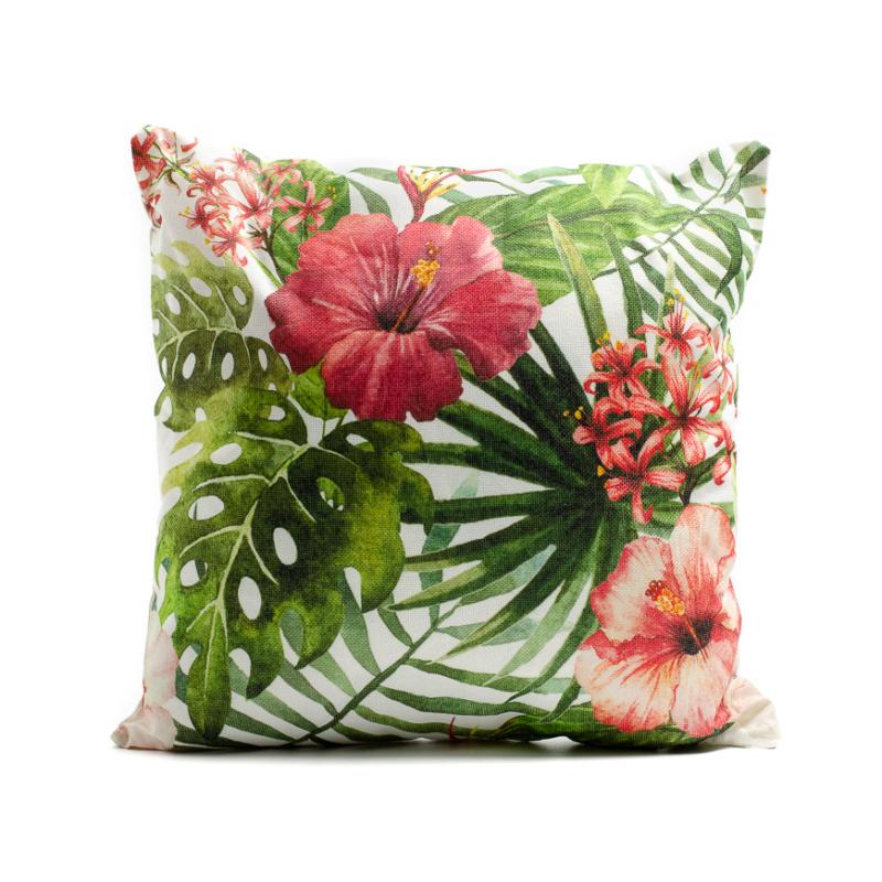 Nagyméretű trópusi díszpárna, zöld pálmalevelek piros virágokkal